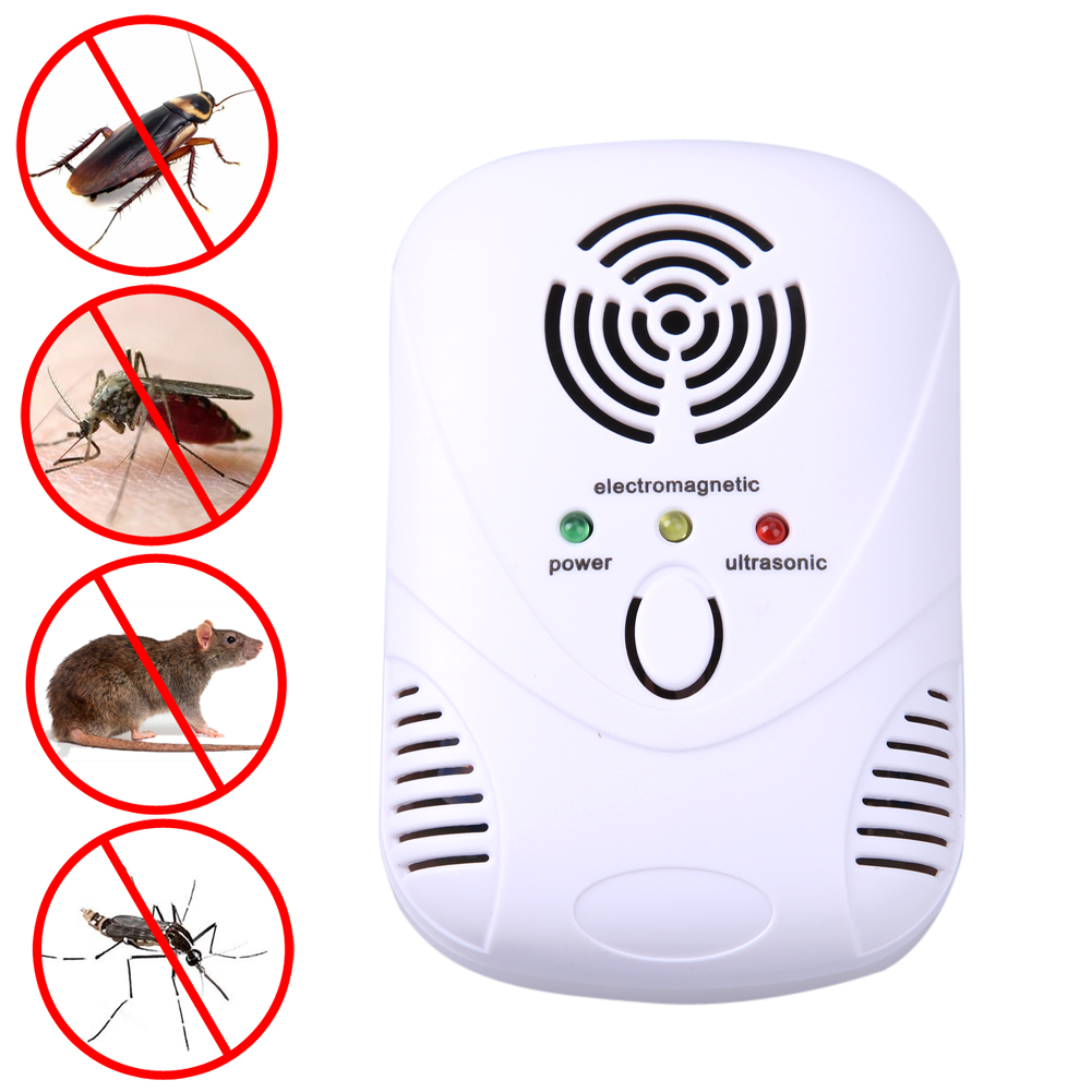 110 250V 6W Electronic Ultrasonic Mouse Killer Mouse Cockroach Trap Mosquito Repeller Insect Rats Spiders Control US/EU Plug