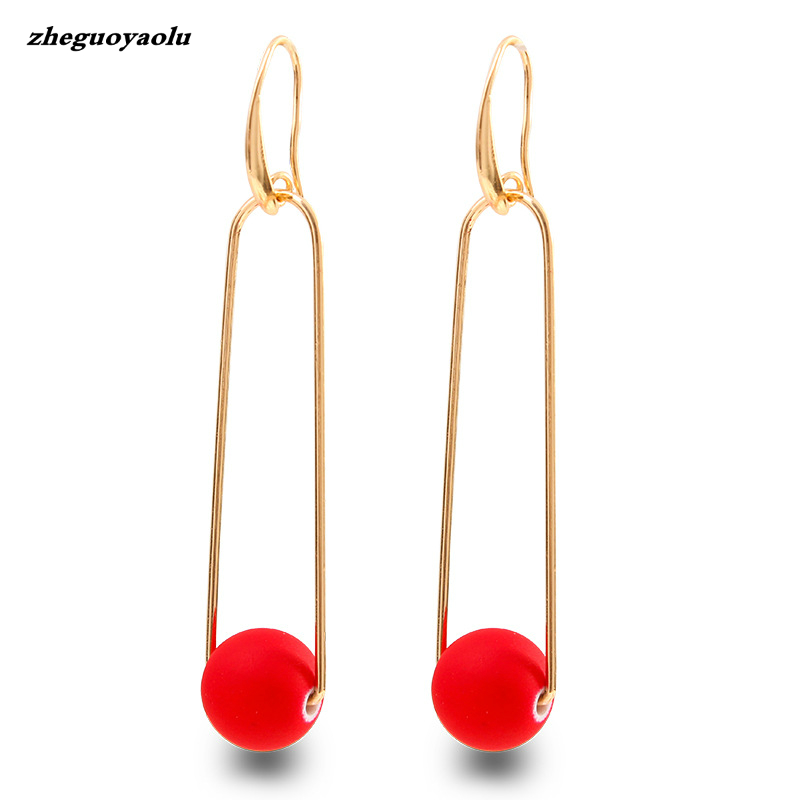 Fashion Gold Earrings For Women Red Ball Long Pendant Drop Earrings Statement Wedding Ball Fine Jewelry Boucle Doreille Femme