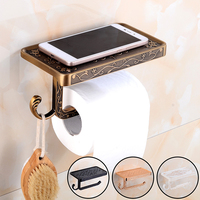 Qomolangma Antique Carving Toilet Roll Paper Rack Wiht Phone Shelf Wall Mounted Bathroom Paper Holder And