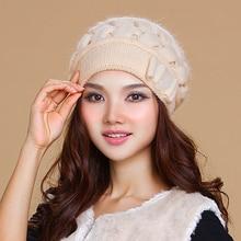 Купить с кэшбэком 2019 New Brand Women Hats Winter Thicken Double Layer Thermal Knitted Hat Elegant Casual Wool Cap Beanies Beret 2849