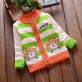 2017 new boys sweater Korean version of the cartoon bear children striped cotton long-sleeved cardigan sweater