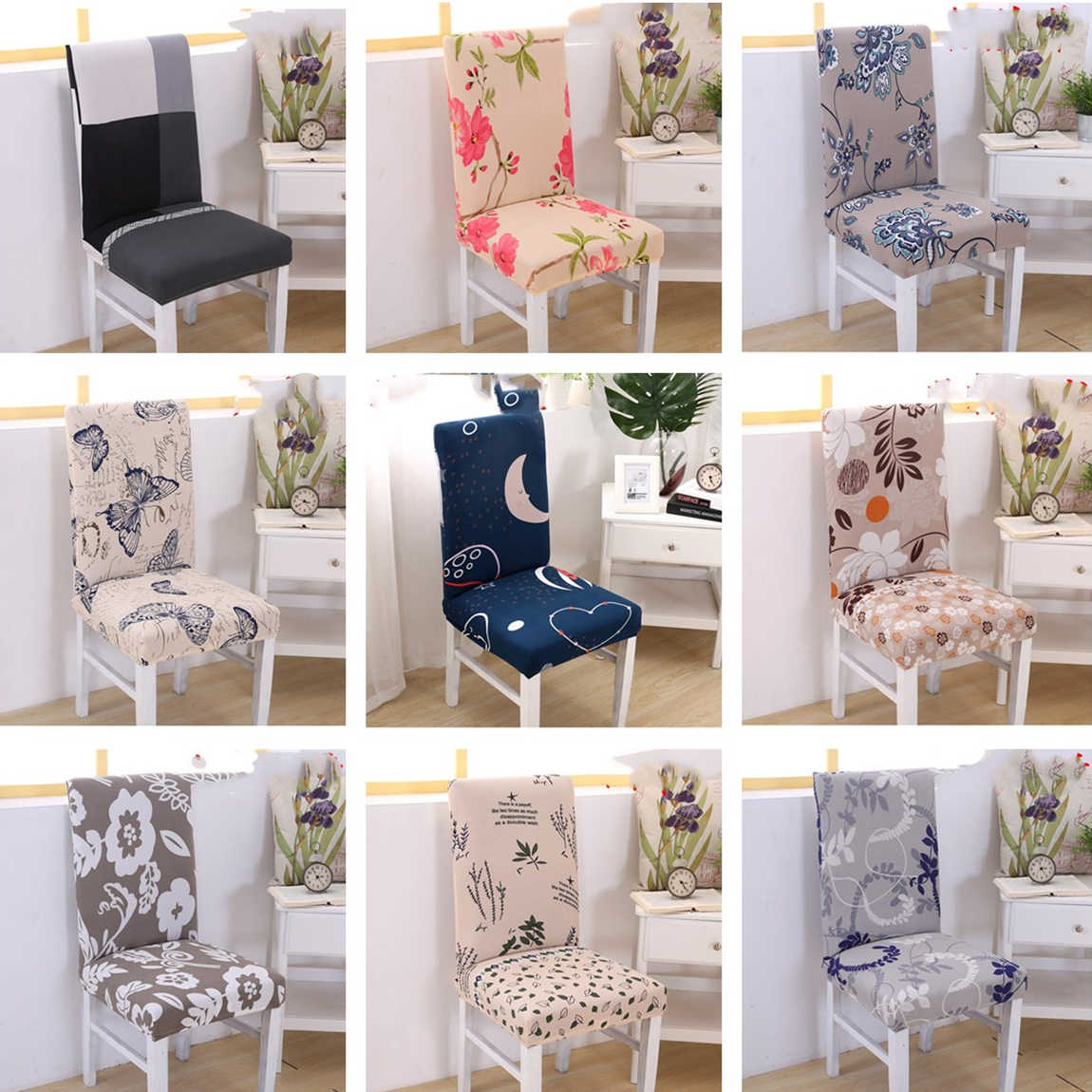 floral style pattern multifunctional chair cover hotel wedding Dinning chair Case stretch elastic spandex polyester cloth