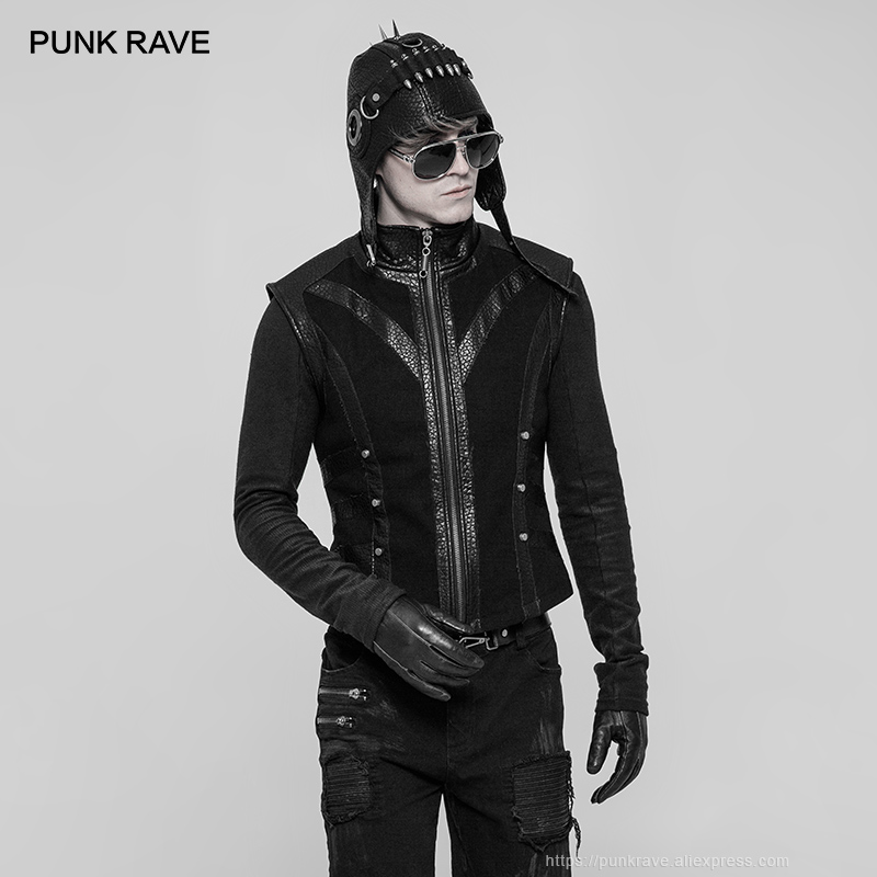 PUNK RAVE Punk Coarse Twill Woven Black Rock Men Vest Personality Fashion Vests Leather Waistcoat Gothic Rock Men Winter Jacket-in Vests & Waistcoats from Men's Clothing    2