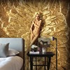 Free Shipping Custom High Quality Blonde Gold Gold Feather Background Wallpaper Bedroom Hotel Nightclub Mural