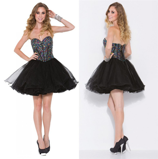 Black Short Crystal Black Graduation Dresses 2015 A Line Sweetheart