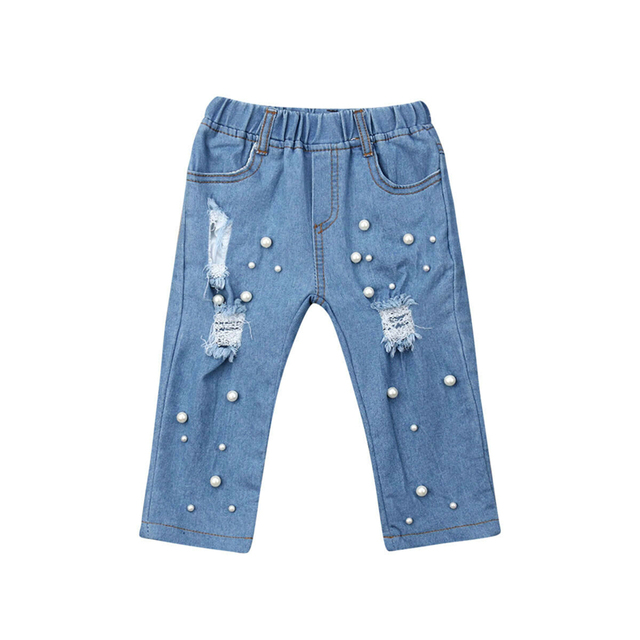 Kid Girl Summer Casual jeans Shredded Hole Jeans Denim Pants Elastic Trousers Baby Jean Infant Clothing 1