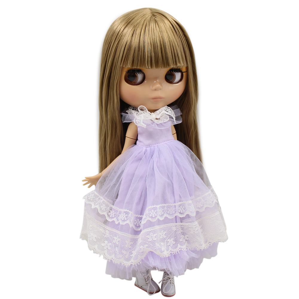 ICY Nude Blyth Doll Serires No 230BL0662 Brown Straight hair JOINT body burning skin with big