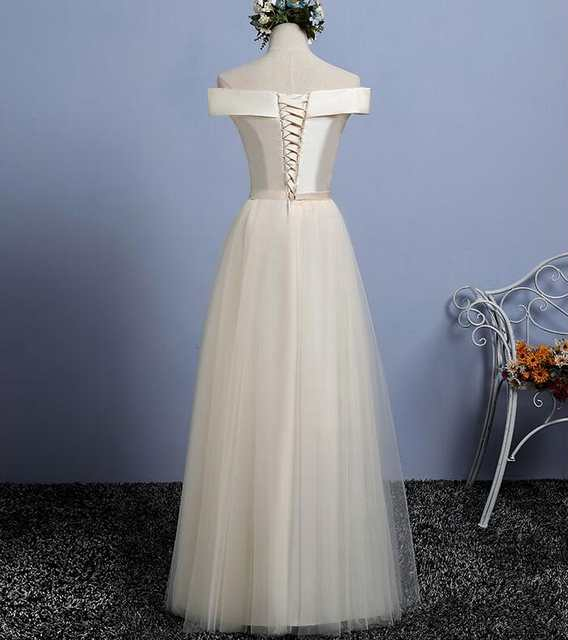838671ef359 placeholder Champagne Long Bridesmaid Dresses 2018 Satin And Tulle Elegant  Off shoulder Cheap Maid Of Honor Gowns