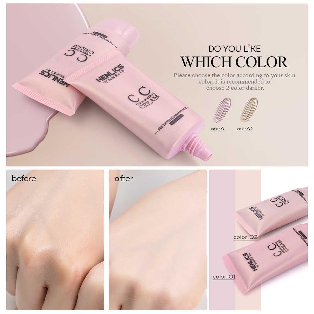 HENLICS copertura Completa Viso crema Prodotti di base BB CC Crema impermeabile Corea cosmetici + trucco soffio casuale di Colore Make up set