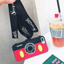 3D Cute Cartoon Camera Case For iPhone X XR XS Max Soft Silicone Stand Holder Cover 7 8 Plus 6 S Coque