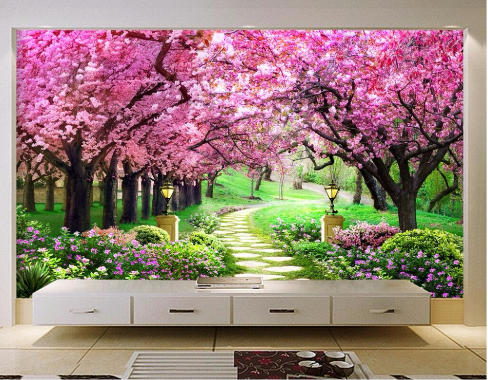 3d Wallpaper Custom Mural Photo Sakura Woods Gardens
