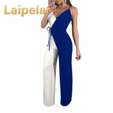 Laipelar Women Summer Jumpsuit Cross Coloblock Bandage Rompers 2018 New Patchwork Strap Casual Elegant Playsuits