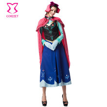 Adult Six-piece Set Ice Snow Queen Sexy Fancy Dress Outfits Cosplay Princess Anna Costume Carnival Halloween Costumes For Women