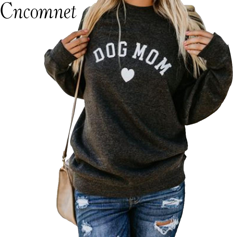 Funny Dogs Mom Letter Print Fashion Heart shaped Sweatshirt Female Ladies Cropped Sweatshirts Long Sleeve Casual Pullovers in Hoodies amp Sweatshirts from Women 39 s Clothing