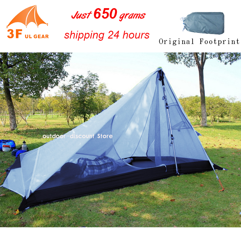 3F UL Gear Rodless Tent 650g Ultralight 15D Silicone Single Person Camping Tent 1 Person 3 Season 1 Man Tent With Footprint 995g camping inner tent ultralight 3 4 person outdoor 20d nylon sides silicon coating rodless pyramid large tent campin 3 season