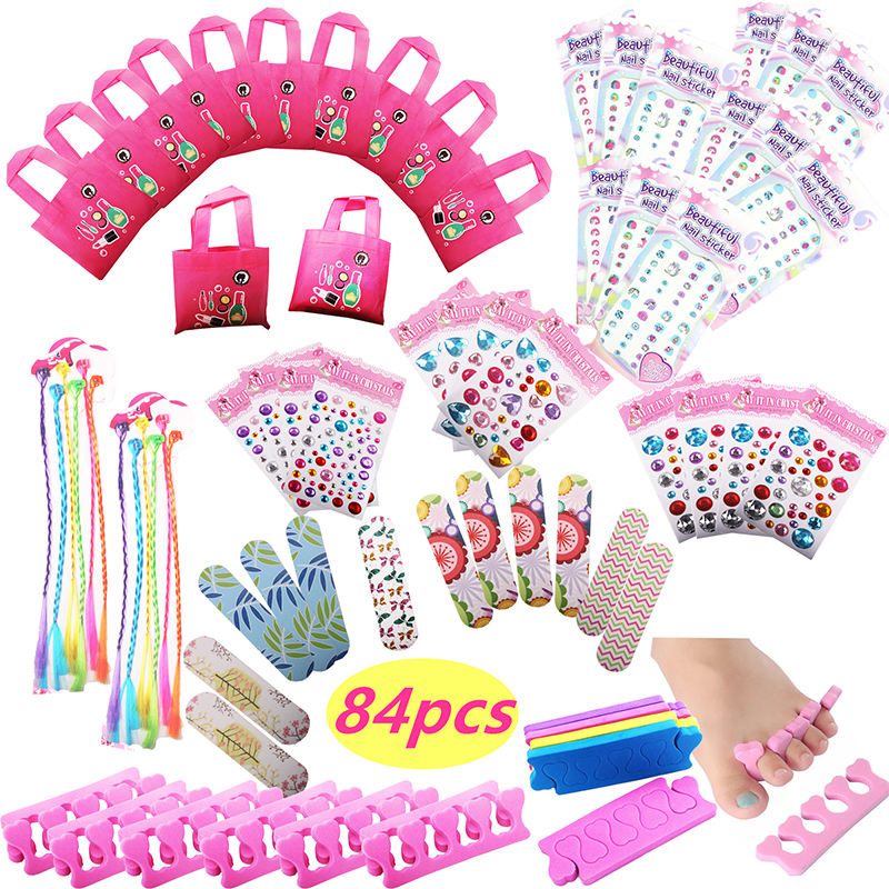 84pcs Spa Party Favors Girls Multiple Spa Party Supplies Tote Bags MINI Emery Boards Colored Hairclip Braids Unicorn Nail Decal