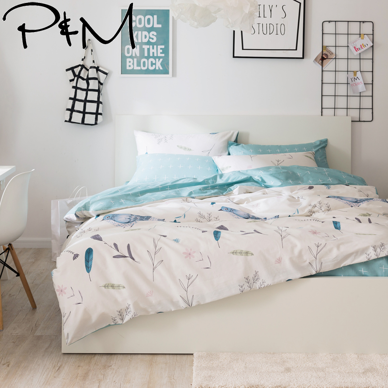 PAPA MIMA Pastoral style Bird print king queen size 100 cotton bedding sets 3 4pcs duvet