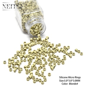 Image 4 - Neisti Silicone Micro Ring Beads Hair Extension Tools Tubes For Feather Hair Extensions 1000pcs/bottle 5 Colors Available