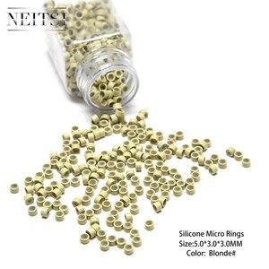 Image 4 - Neisti Silikon Micro Ring Perlen Haar Verlängerung Werkzeuge Rohre Für Feder Haar Extensions 1000 stücke/flasche 5 Farben Erhältlich