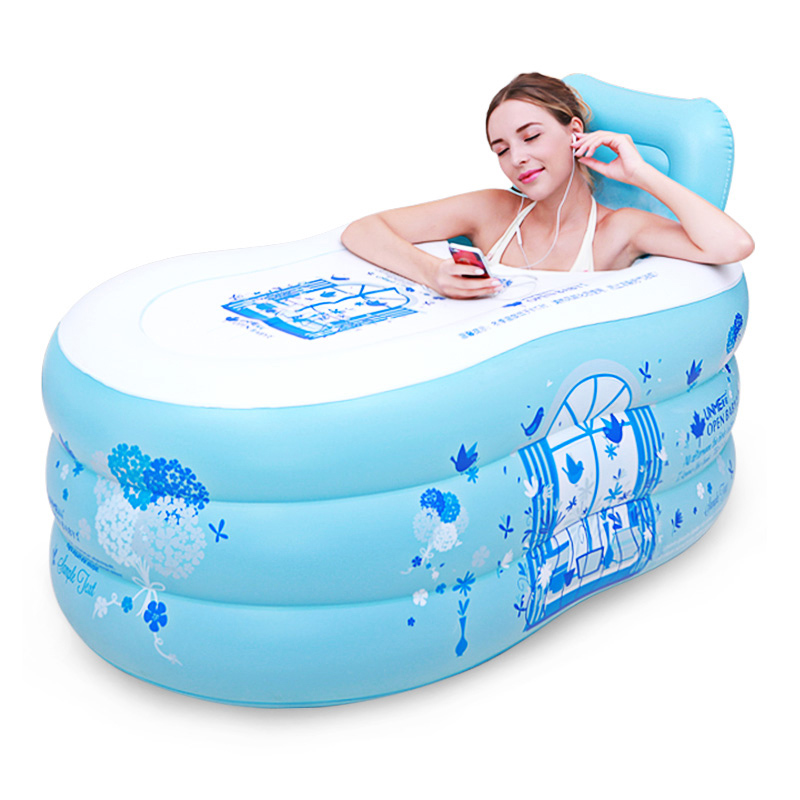 Simple Inflatable Bathtub Adult Tub Home Thickening Tub Folding Korean Bathroom Toilet Can Sit Reclining
