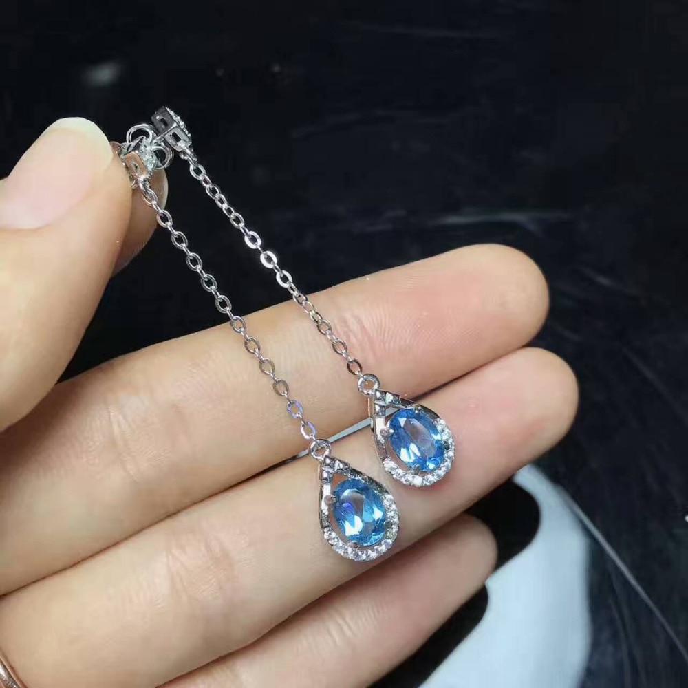 natural blue topaz drop earrings 925 silver Natural gemstone earring Luxury fashion Line shape women earrings