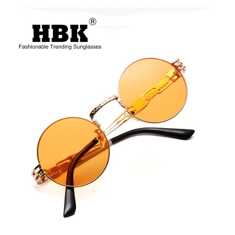 HBK 2019 Legal Retro Rock   Roll Do Punk Do Vapor Óculos De Sol Para Homens  Moda Rodada Do Vintage De Metal Steampunk Oculos de sol UV400 K40032 em  Óculos ... 038a440dec