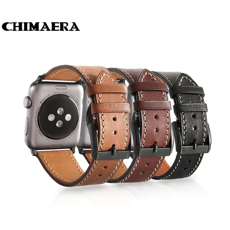 Prix pour CHIMÈRE Noir Brun Café Véritable Son-mes montre en cuir bande pour Iwatch Printemps bar Lien adaptateur pour Apple montre sangle 42mm