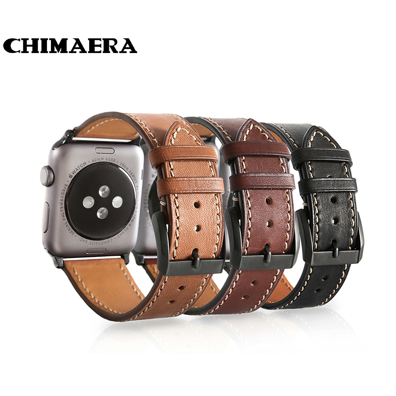 CHIMAERA Black Brown Coffee Genuine Her mes leather watch band for Iwatch Spring bar adapter Link