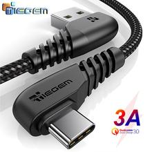 TIEGEM 90 degree USB Type C Cable 3A USB C Cable Type C Fast Charging Cord for Samsung S8 S9 S10 PLUS Mobile Phone Cable 2M 3M