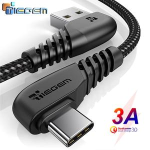 TIEGEM 90 degree USB Type C Cable 3A USB-C Cable Type-C Fast Charging Cord for Samsung S8 S9 S10 PLUS Mobile Phone Cable 2M 3M