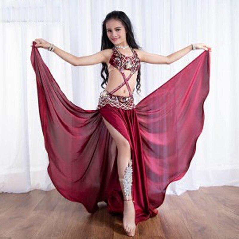 2019 Hand-made Beha + Rok Oosterse Dans Kostuum Kostuums Voor Kinderen/kinderen Sexy Stage Performance Set Jurk Voor Meisjes M/l Een Plus Een Gratis