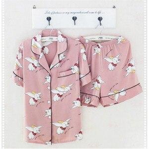 Image 4 - Caiyier Silk Pajama Sets Cute Elephant Print Short Sleeve Sleepwear Summer 2019 Women Korean Pyjama Causal Homewear M 3XL