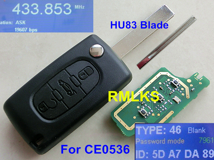 CE0536 New Flip Remote Key 3 Buttons 433MHz ID46 chip Fit For Peugeot 207 208 307 308 407 408 607 608 Car Alarm Fob HU83 blade