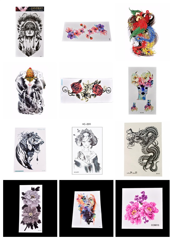 Flower/Aniaml Transfer Tattoo Stickers Women Men Body Art Temporary Tattoo Beautiful Girl Chest Waist Tattoos