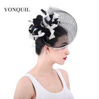 High quality Philippines linen fascinator hair accessories cocktail hats derby royal occasion millinery hats with feather flower
