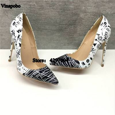 So Kate Heels Pumps Wedding Shoes Woman Black Graffiti Print 12 10 8cm Pointed Toe Ladies
