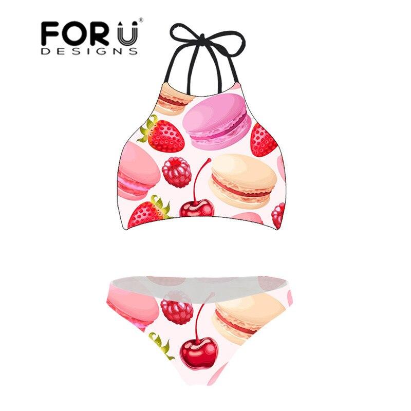 FORUDESGINS Swimwear Women Macaron Cherry Print Large Size Swimming Suit for Women Push Up Halter Sexy Bikini High Neck Swimwear
