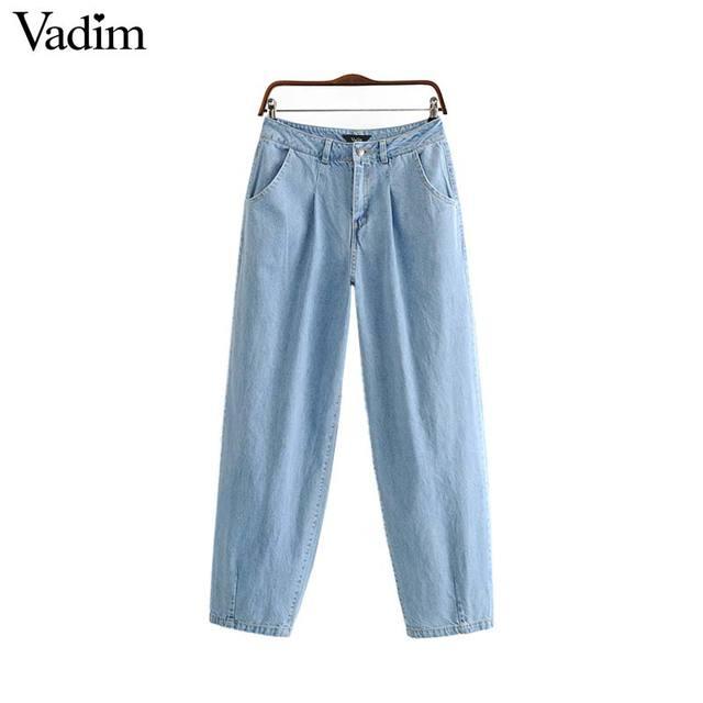 Vadim נשים בציר ג 'ינס ג' ינס רוכסן לטוס כפתור כיסים ישר אופנתי נקבה שיק רטרו מכנסיים pantalones KA984