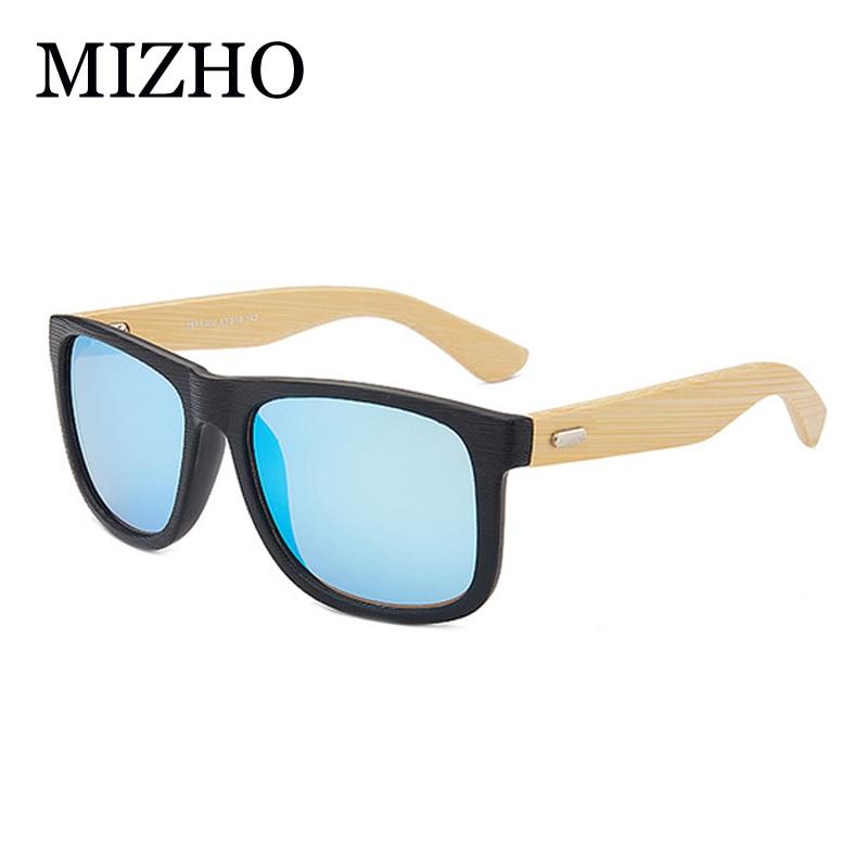MIZHO 2019 Brand Design Eyewear Mirror Visual Protection Imitati Wood Sunglasses Men Polarized Traveling Sunglass Unisex Bamboo