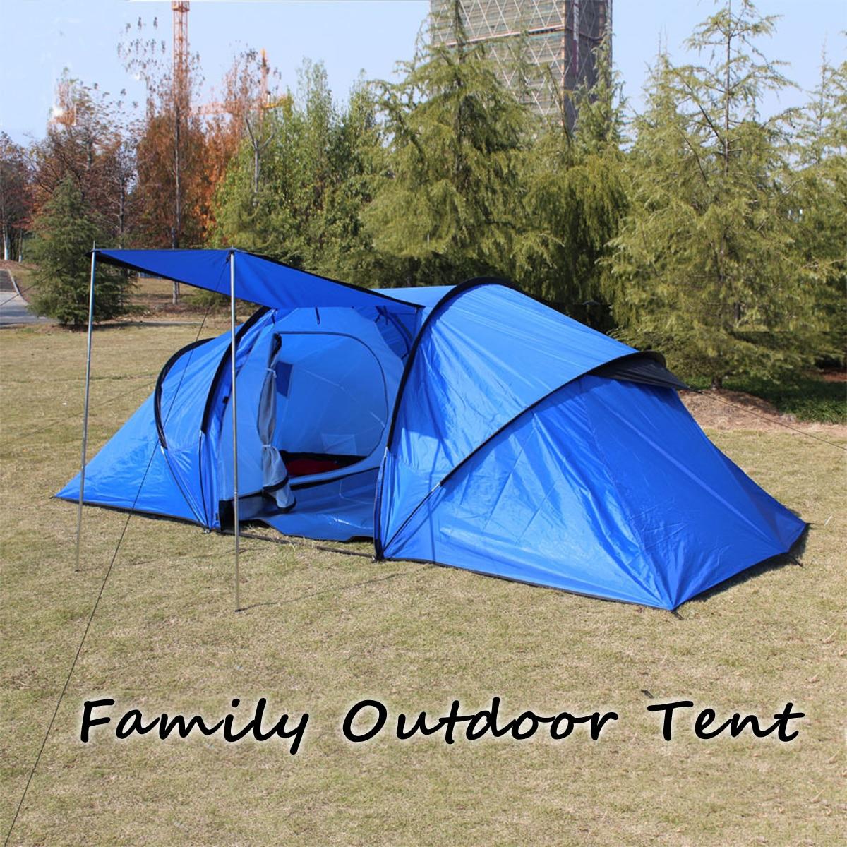Nouveau 5-8 Personnes Tente de Camping Abri Extérieur Bleu Deux Chambres Super Grand Imperméable Tentes des Vacances en Famille