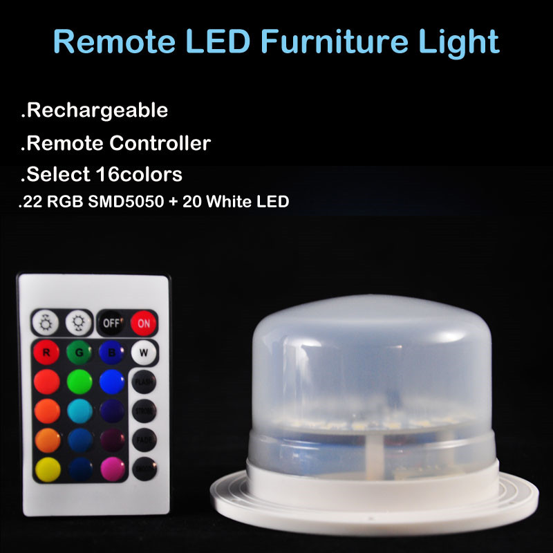 Kitosun New Style Remote Controlled Rechargeable RGBW LED Furniture Light for Home&Wedding Party Under Table Decor Lighting