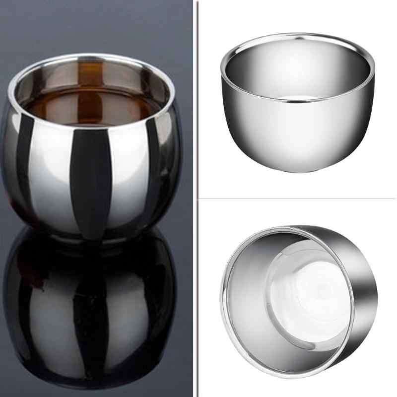 Coffee Milk Mugs Stainless Steel Espresso Mini Thickened Double Layer Soap Cup Heat Insulation Smooth Shaving Mug Bowl Pitcher