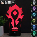 H Y WOW World Logo 3D Night Light RGB Changeable Mood Lamp LED Light DC 5V USB Decorative Table Lamp Get a free remote control