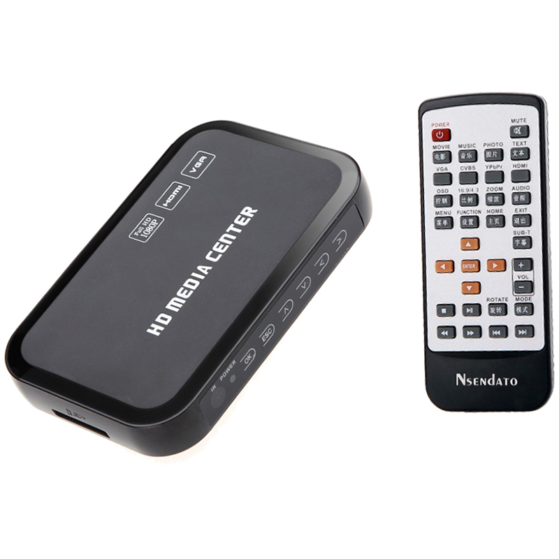 Eu Plug Full Hd 1080P Media Player Center Multimedia Video Player With Hdmi Vga Av Usb Sd/Mmc Port Remote Control Ypbpr Cable