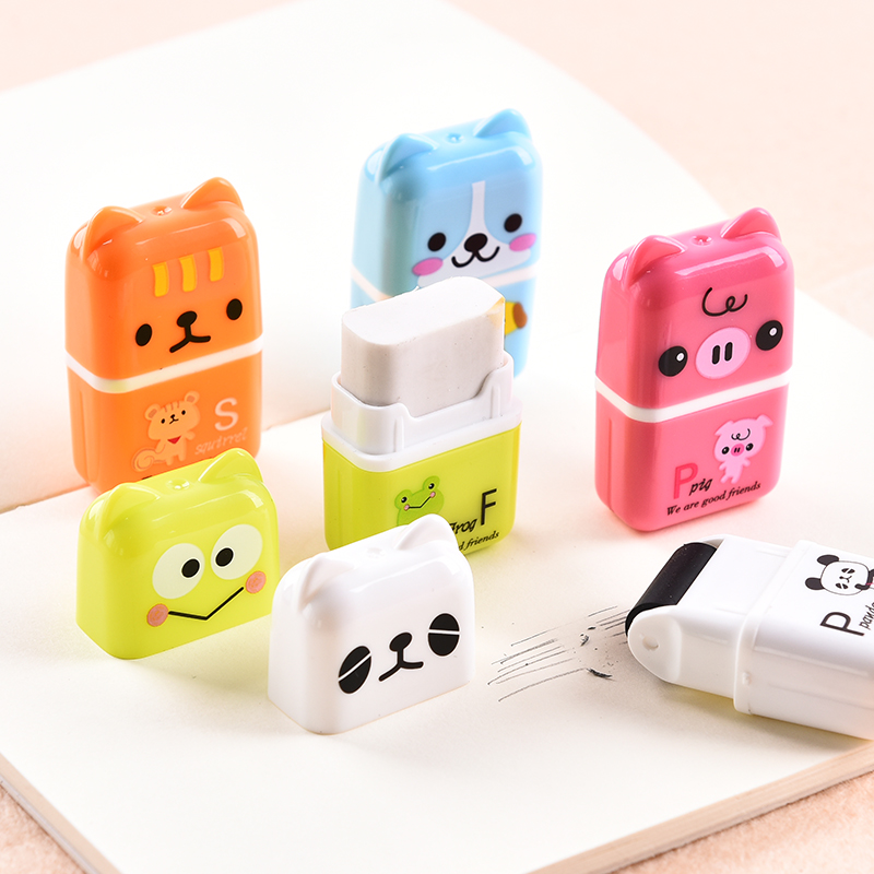 10 Pcs/lot Creative Roller Eraser Cute Cartoon Erasers Children School Stationery Supplies Student Gift