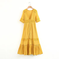 Fashion Lace Stitching Yellow Deep V Collar Dress Ladies Long Paragraph Single Breasted Cardigan Summer Women