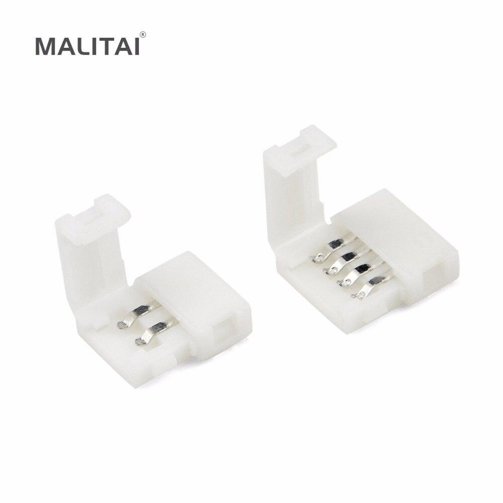 цена на 5Pcs/lots 2835 3528 5050 SMD RGB LED Strip light Connectors 2pin 8mm; 2pin 10mm; 4pin 8mm 4pin 10mm PCB Free Welding Connector