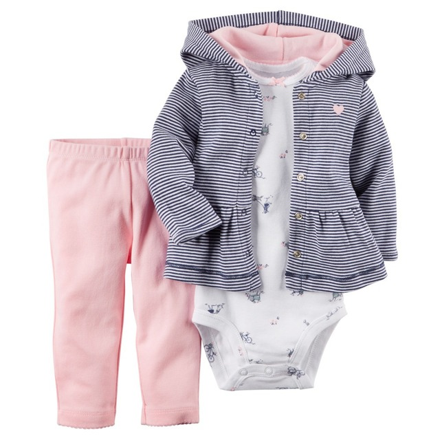 LSL3-042, Original, Baby Girls 3-Piece Hooded Cardigan Set, With Soft Stripes & Little Pink Pants, Free Shipping