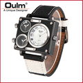 Oulm Newly Wristwatch With Sailcloth Strap Three Time Zone Watches For Men Factory Direct Sell