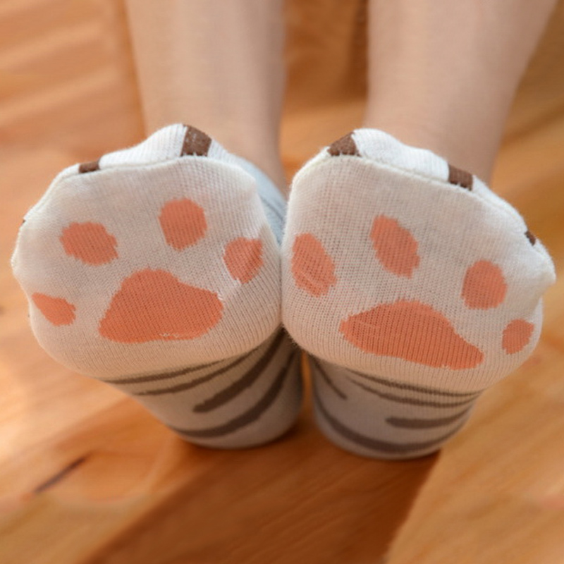 Hot Sale Cat Paw Cotton Socks Calcetines Cartoon Casual Cat Pink Paw Prints Mark Socks Women Slippers Cut Socks